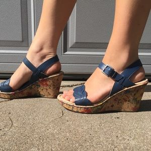 Born Blue and Floral Genuine Leather Buckle Wedges